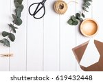 simple objects and eucalyptus... | Shutterstock . vector #619432448