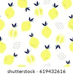 cute lemon and slice with... | Shutterstock .eps vector #619432616