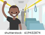 young black passenger riding by ... | Shutterstock .eps vector #619432874