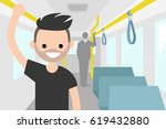young passenger riding by bus   ...   Shutterstock .eps vector #619432880