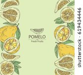background with pomelo and... | Shutterstock .eps vector #619434446