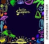 invitation card on happy summer ...   Shutterstock .eps vector #619436114