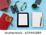 top view mock up tool on color... | Shutterstock . vector #619441889