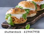 homemade mini burgers with... | Shutterstock . vector #619447958