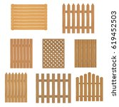 different types of wooden fence.... | Shutterstock .eps vector #619452503