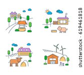 village and farm lands in... | Shutterstock .eps vector #619461818
