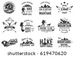 hiking club badge. mountains... | Shutterstock . vector #619470620