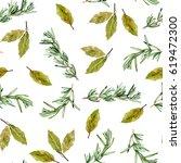 herbs seamless pattern.... | Shutterstock . vector #619472300