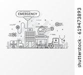 emergency hospital flat line... | Shutterstock .eps vector #619473893