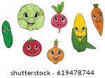 seven faces of colored... | Shutterstock . vector #619478744