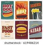 fast food  posters set. retro... | Shutterstock .eps vector #619486214