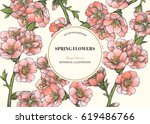 vector floral background with... | Shutterstock .eps vector #619486766