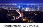 los angeles city skyline and... | Shutterstock . vector #619490516
