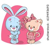 cute cartoon cat and rabbit on... | Shutterstock . vector #619493693
