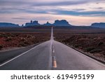 famous road to monument valley  ... | Shutterstock . vector #619495199