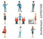 commercial flight board crew... | Shutterstock .eps vector #619507430