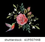 embroidery colorful floral... | Shutterstock .eps vector #619507448