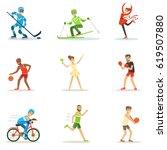 adult people practicing... | Shutterstock .eps vector #619507880
