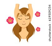 woman lying on back while... | Shutterstock .eps vector #619509254