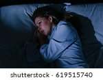 sleep disorder  insomnia. young ... | Shutterstock . vector #619515740