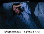 sleep disorder  insomnia. young ... | Shutterstock . vector #619515770
