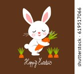 easter bunny with carrot ... | Shutterstock .eps vector #619517066