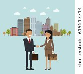 people at work with handshaking ... | Shutterstock .eps vector #619517714