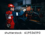 young coal miner is underground ... | Shutterstock . vector #619536593