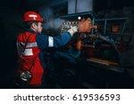 young coal miner is underground ... | Shutterstock . vector #619536593