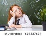 girl schoolgirl in shirt... | Shutterstock . vector #619537634