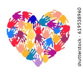 hand print heart. kids palm... | Shutterstock .eps vector #619538960