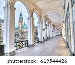alsterarkaden on lake kleine... | Shutterstock . vector #619544426