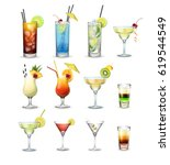 vector set of popular cocktails ... | Shutterstock .eps vector #619544549