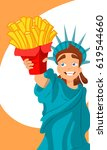 statue of liberty with french... | Shutterstock .eps vector #619544660
