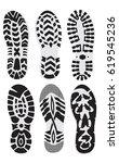 set  footprint sport shoes... | Shutterstock .eps vector #619545236