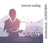silhouette business man using... | Shutterstock .eps vector #619547894