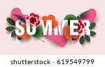 summer. composition with... | Shutterstock .eps vector #619549799