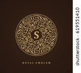 round brown calligraphic royal... | Shutterstock .eps vector #619551410