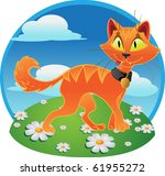orange  fun  terrible cat on... | Shutterstock .eps vector #61955272