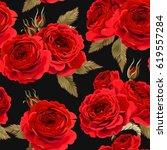 Stock vector english roses seamless 619557284
