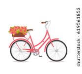 pink retro bicycle with bouquet ... | Shutterstock .eps vector #619561853