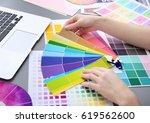 young designer choosing color