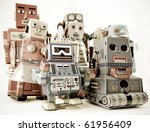 a fun group of robot toys - stock photo