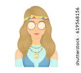 a hippie girl with glasses with ... | Shutterstock .eps vector #619568156