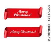 merry christmas red ribbon | Shutterstock .eps vector #619571003