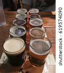 Small photo of KLAMATH FALLS, OR - MARCH 3, 2017: Klamath Basin Brewery beer sampler on a table in the restaurant.