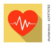 red heart with pulse.the heart... | Shutterstock .eps vector #619574783