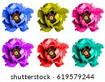 pack of colored surreal poppy... | Shutterstock . vector #619579244