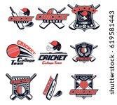 vector set logo for cricket... | Shutterstock .eps vector #619581443