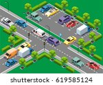isometric urban traffic... | Shutterstock .eps vector #619585124